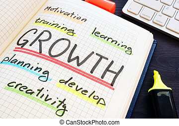 crescita, concept., addestramento, pianificazione, cultura, e, motivation.