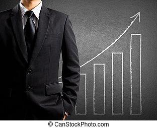 crescita, grafico, affari, uomo
