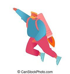crescita, jet, spinta, inizio, illustrazione, maschio, razzo, prendere, affari, su, allegro, vettore, uomo affari, pack., indietro, volare, ground., concept., appartamento, carriera, impiegato, cartone animato, spento