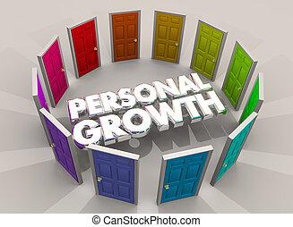 crescita personale, porte, opportunità, imparare, nuovo, esperienze, 3d, illustrazione