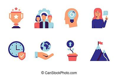 crescita, viola, white., valori, concetti, icone, web, blu, centro, squadra, set, attendibilità, innovations, clienti, icona, qualità, colorito, tones., isolato, responsabilità