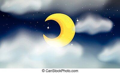 cresent, 月, 現場, 夜