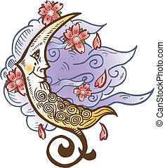 Cresent Moon Against Soft Clouds Tattoo Style Vector...
