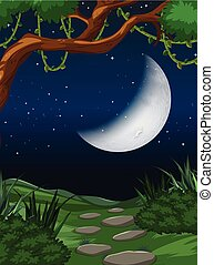 Cresent moon nature scene illustration