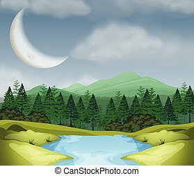 Cresent moon over wood scene illustration