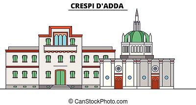 Crespi D'adda line travel landmark, skyline, vector design....
