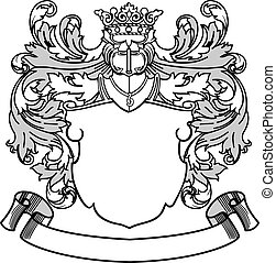 Crest and Banner - Coat of Arms Vector Illustration. Colors...