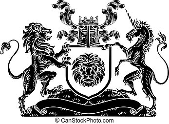 Crest Lion Unicorn Heraldic Shield Coat of Arms