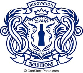 Crest monogram, emblem template. Alcohol drinks decoration....