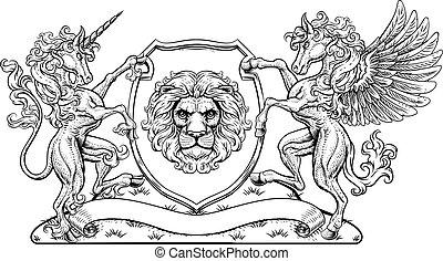 Crest Pegasus Unicorn Coat of Arms Lion Shield
