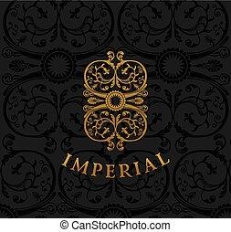 crest., weinlese, königlich, calligraphic, flourishes, blumen-, emblem., design.