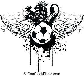 crest4, heraldisch, voetbal, leeuw