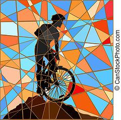 cresta, cavaliere, mosaico