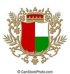 cresta, emblema, coloreado