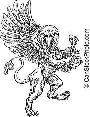 cresta, grifo, chamarra, brazos, rampant, mascota, griffon