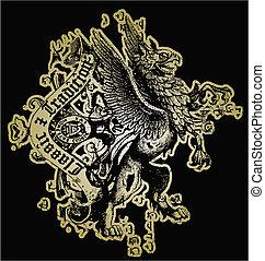 cresta, león, diseño
