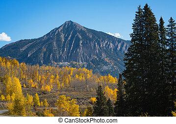 Crested Butte Mountain in Colorado - Autumn colors near...