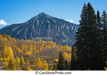 Crested Butte Mountain in Colorado - Autumn colors near...