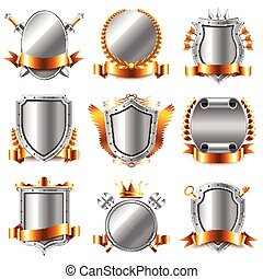 Crests and coat of arms icons vector set