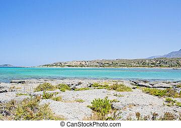 creta, di, -, elafonissi, grecia, isola