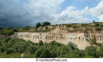 Cretaceous quarry. Landscape with sandy cliffs and beautiful...