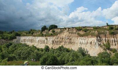 Cretaceous quarry. Landscape with sandy cliffs and beautiful...