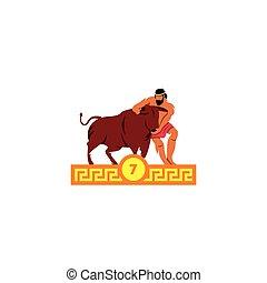 cretan, illustration., séptimo, bull., vector, hazaña,...