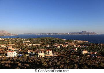 crete, 上に, souda, 日の出, 湾