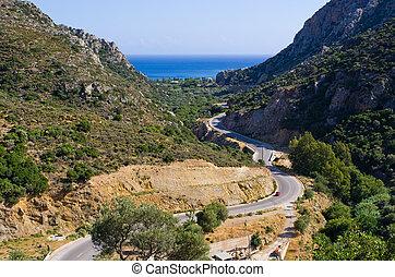 crete, 丘, 島, ギリシャ