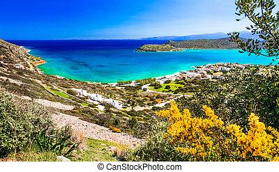 Crete island - beautiful view from Plaka to Spinalonga...