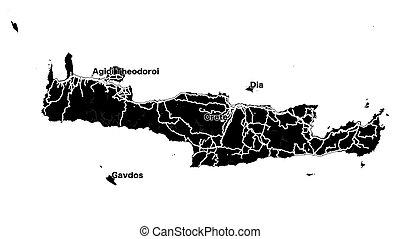 Crete Island Vector Map