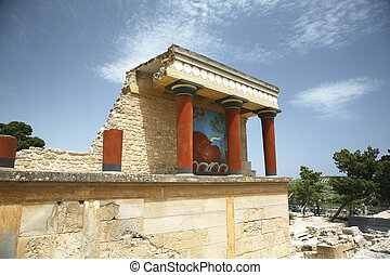 crete knossos temple - ruins of the knossos temple in crete...