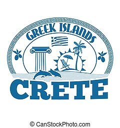 Crete stamp - Greek Islands, Crete, stamp or label on white...