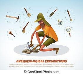 creuser, archéologique, griffonnage, fond
