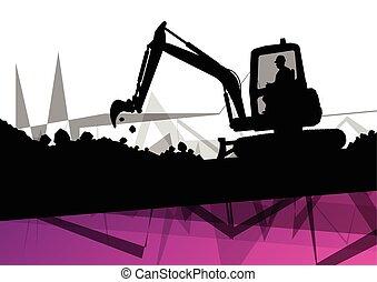 creuser, excavateur, résumé, site, machinerie construction, fond, action, excavateur
