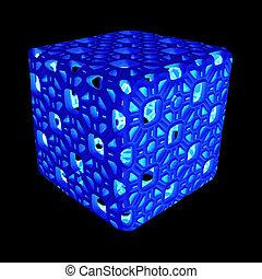 creux, fond, cube, noir, néon, isolé, incandescent