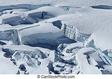Crevasses with visible layers of ice.