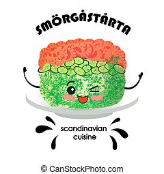 crevettes, gâteau, sandwich, cuisine., sm, rg, rta,...