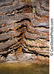 Crevice in Rock Formation Seeps Water - A crevice in the ...