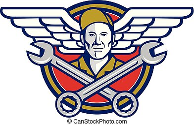 Crew Chief Crossed Wrench Army Wings Icon