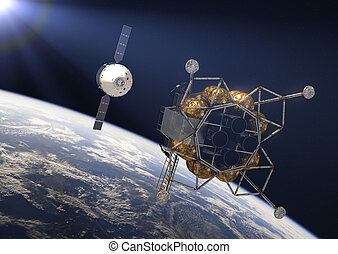 Crew Exploration Vehicle In Rays Of the Sun