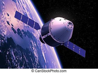 Crew Exploration Vehicle Orbiting Earth. 3D Scene.