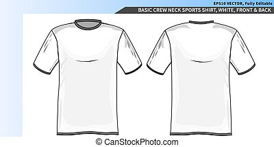 Crew neck white tee shirt template