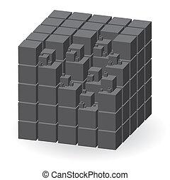 Crey construction set of cubes, vector illustration