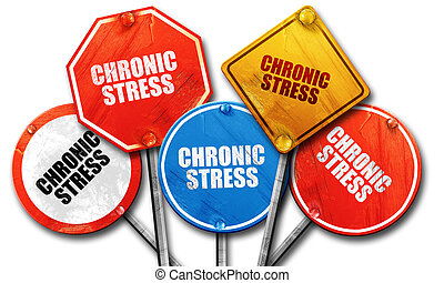 crhonic stress, 3D rendering, rough street sign collection