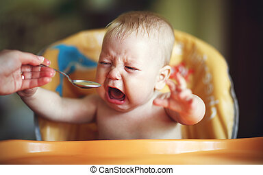 cri, bébé, refuser, manger, capricieux