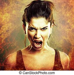 cri, fâché, explosion., femme, rage