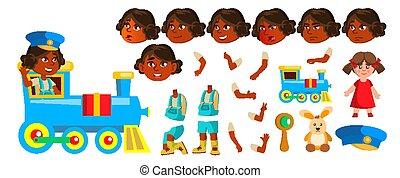 criação, asian., menina, design., pequeno, set., hindu., isolado, gestures., jardim infância, animação, vector., animated., indianas, toy., ilustração, cobertura, emoções, caricatura, child., criança, painél publicitário, rosto, estrada ferro, train.