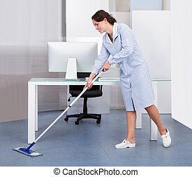 criada, limpieza, oficina, piso