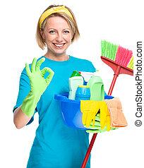 criada, mujer, joven, limpieza